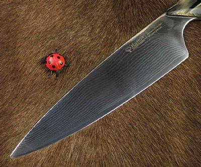 Raffir Damascus Chefs Knife Black Raffir Stripes
