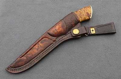 BR Damaskus Jagdmesser - schöne Scheide