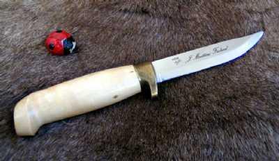 Marttiini knife curlybirch, large finger guard